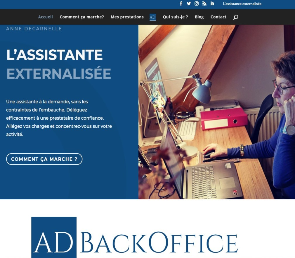page accueil adbackoffice